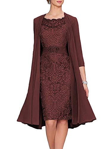 Meaningful Short Formal Tea Length Mother of The Bride Dresses Two Piece Prom Dresses with Jacket Burgundy Size 16