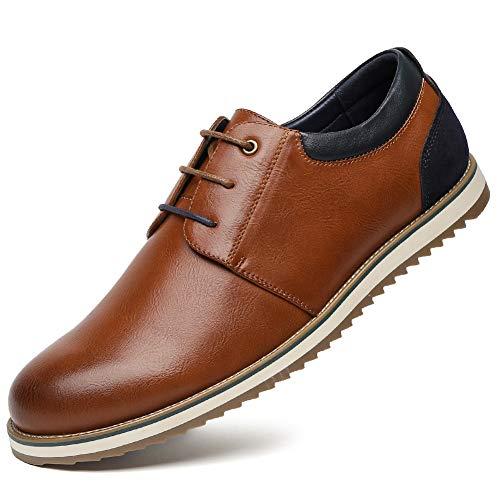 Zapatos Comodos Oxford de Cordones para Hombre - Zapatos Formal Derby Cuero de Imitación Hombre, Conveniente para Todas Las Estaciones SS001-CAMEI-40