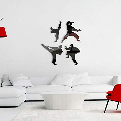Spiegel muurstickers, 2 sets Kung Fu jonge acryl milieu muurschilderingen, huiskunst muurdecoratie stickers-Zwart