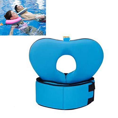 Creacom Conjunto de cinturón de Anillo de Cuello de natación, Conjunto de cinturón de Anillo de Cuello de natación Collar de Flotador de natación Niños Adultos Safty No Necesita Bomba XL Azul