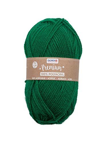 Glorex 5 1001 08 - Premium Wolle aus 100 % Acryl, leicht zu verarbeiten, vielseitig einsetzbar, wärmend, weich, nicht kratzend, 50 g, ca. 140 m, grün