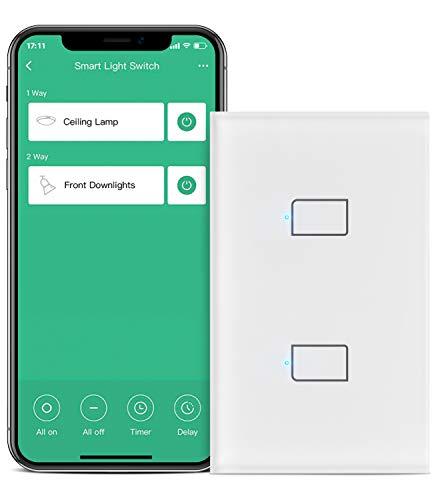 BroadLink Interruptor de luz inteligente, interruptor de cable único de 2 bandas (no requiere neutro), panel de vidrio, funciona con Alexa, Google Home e IFTTT, Hub requerido, control remoto, horario