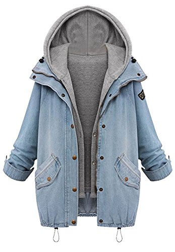CUPSHE Fashion Women's Two Piece Vest Denim Hooded Jacket Coat (S)