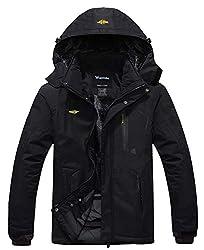 professional Wantdo Men's Waterproof Mountain Jacket Fleece Windproof Ski Jacket US L Black L.
