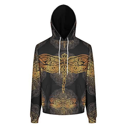Lind88 Mann Sweatshirts Männer & Frauen Dragonfly Design Freizeit - Dragonfly Kapuzenpullover Komfort Herbstoberteile
