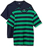 Amazon Essentials 2-Pack Loose-Fit Crewneck T-Shirt Fashion, Green and Navy Rugby Stripe/Navy, 50-52, Lot de 2