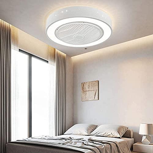 110V-220V iluminación interior LED ventilador de techo Techo Circular Fans con luces, 22 'Iluminación moderna LED ancho Luz de montaje en descarga con control remoto Cambios de 3 colores Lámpara colga