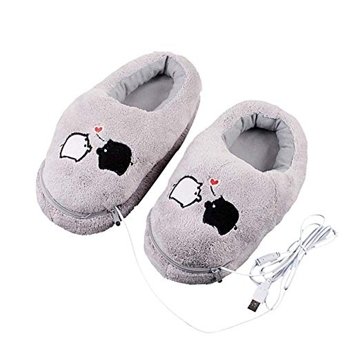 Electronic Foot Warmer Warm Feet Treasure Heating Shoes Cartoon Plush Bedroom Office Hiking Student Electric Heating Warming Slippers Heated Slippers Warming Foot Massager for Women Girls (Grey)