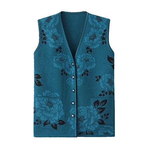 Gilet senza maniche da donna in maglia maglione gilet da donna Plus Size Vest Blu XXX-Large