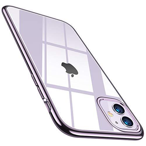 TORRAS Crystal Clear Kompatibel mit iPhone 11 Hülle, Ultra Dünn Vergilbungsfrei Durchsichtig Handyhülle Hülle Silikon Slim Schutzhülle (Violett)