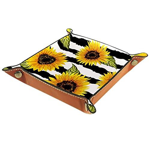 Bandeja de almacenamiento de girasoles con rayas blancas y negras para viajes, hogar u oficina