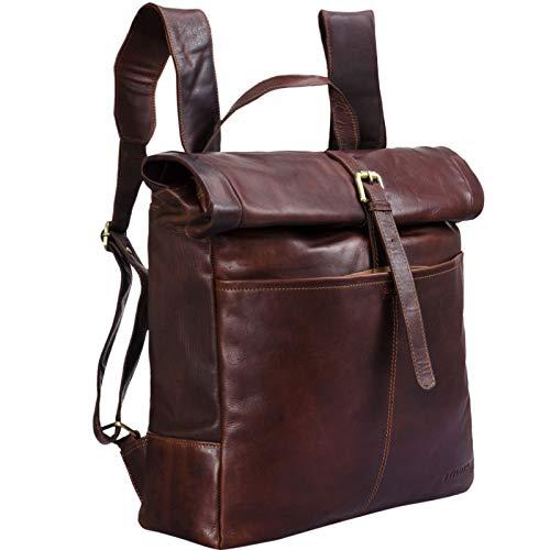 STILORD 'Jackson' Leder Rucksack Männer braun großer Daypack mit Roll Top Überschlag ideal als XL Fahrradrucksack Vintage Kurierrucksack Unirucksack für DIN A4 Ordner, Farbe:Cognac - Dunkelbraun