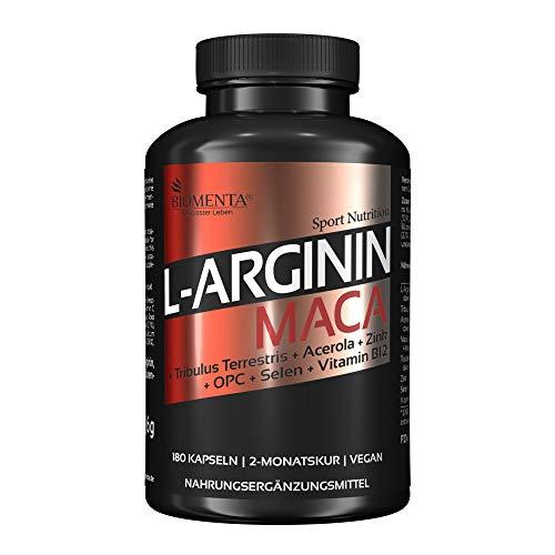 BIOMENTA L-Arginin + Maca – Premiumqualität – 180 vegane Arginin Maca Kapseln hochdosiert angereichert mit Tribulus Terrestris, Acerola (Natürliches Vitamin C), OPC-Traubenkernextrakt, Zink, Selen, Vitamin B12 – 2 Monatskur