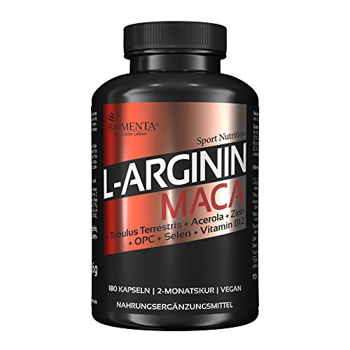 BIOMENTA L-Arginin + Maca – vegan – mit L-Arginin, Maca, Tribulus Terrestris, Acerola (Natürliches Vitamin C), OPC-Traubenkernextrakt, Zink, Selen, Vitamin B12 - 180 L-Arginin-Maca-Kapseln hochdosiert – 2 Monatskur