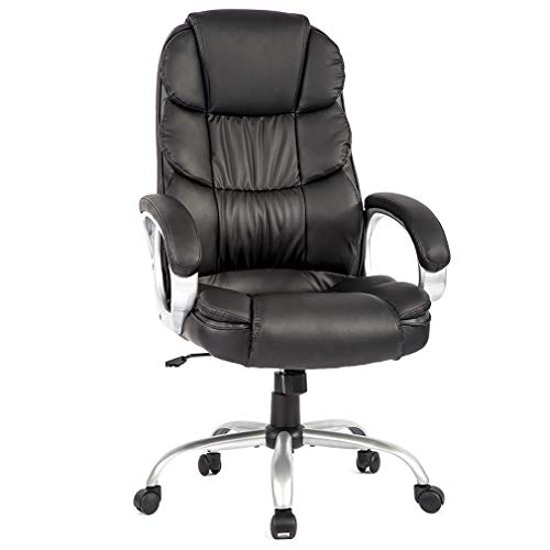 Big and Tall Office Home Desk Chair, Office Ergonomic Chair, High-Back Ergonomic PU Desk Task Executive Chair Rolling Swivel Chair Adjustable Computer Chair with Lumbar Support Headrest (1)