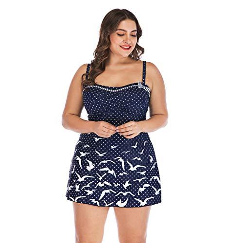 Plus Size Swimsuit,Swyss Bird and Dot Printed Swimwear Swimdress with Triangle Bottom Beachwear (Blue,XXL)