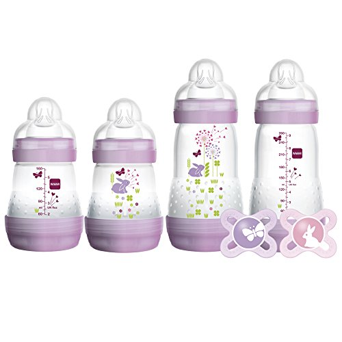 "MAM Gift Set, Best Pacifiers and Baby Bottles for Newborn Breastfed Babies, ""Feed & Soothe"" Set, Girl, 6-Count"