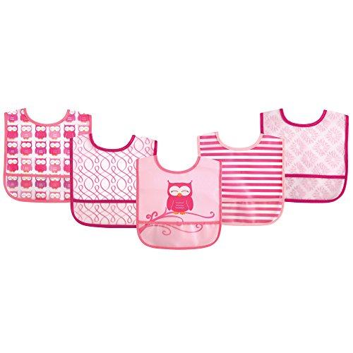 Luvable Friends (ラバブルフレンズ) ポケット付き 防水エプロン 5枚セット ピンク オウル W22.5xH34.5 5枚
