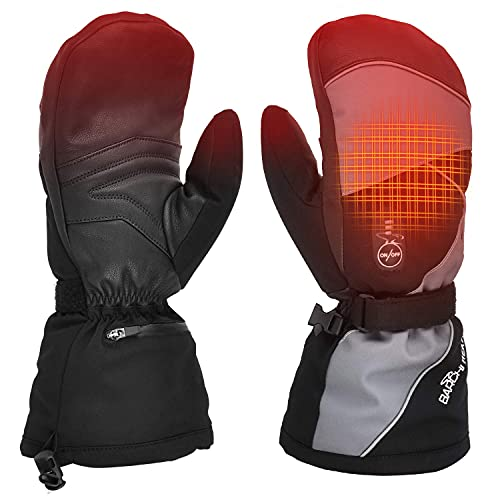 Heated Gloves,Ski Gloves Mittens,7.4V Electric Rechargeable Battery Gloves for Men Women,Winter Cold Weather Raynaud's Hand Glove Warmers for Snow Skiing Ice Skating Camping Hiking Fishing Hunting