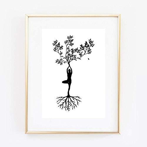 Din A4 Kunstdruck ungerahmt Lebensbaum Yoga Zen Meditation Baum des Lebens Figur Grafik Druck Poster Bild