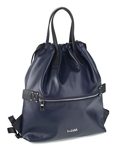 Kbas 353910 - Mochila tipo saco bandolera de piel azul