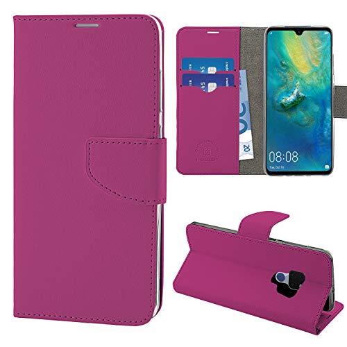 NewTop N Cover Compatibile per Huawei Mate 20/Lite/PRO, HQ Lateral Custodia Libro Flip Magnetica Portafoglio Simil Pelle Stand (per Mate 20, Fucsia)