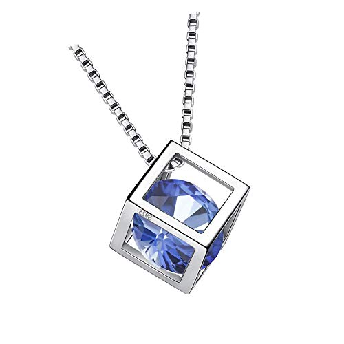 Collar de piedra natal de junio de plata de ley 925 azul Alexandrita Square Birth Stone