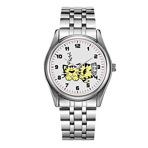 Reloj de lujo de los hombres 30m impermeable fecha reloj masculino deportes relojes hombres cuarzo casual reloj de pulsera lindo gato amarillo siesta reloj de pulsera