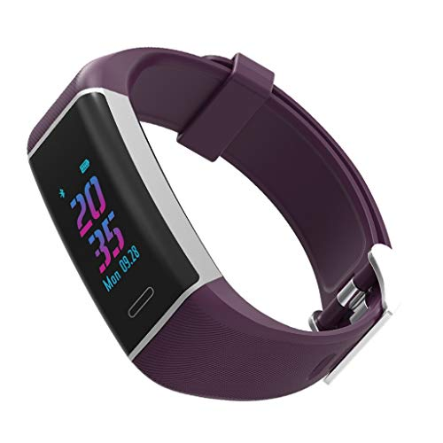 W7 kleurendisplay Smart armband GPS Motion positionering track hartslagfrequentie IP67 waterdichte hartslagmeter slaapmonitor compatibel met Android en iOS paars