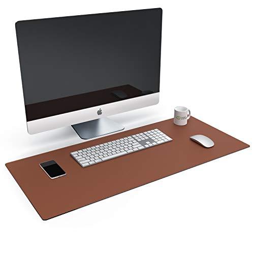 CSL Tischunterlage Schreibtischunterlage 90 x 40cm - Premium PU-Leder Schreibunterlage - zusätzliche Anti Rutsch Beschichtung - wasserdicht - auch als Mauspad - für Büro u Zuhause 900x400 mm Braun