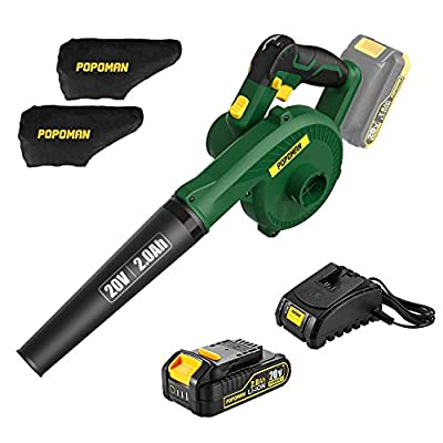 POPOMAN Cordless Blower/Sweeper, 20V 2.0Ah Lithium Battery,145MPH,20000RPM, Electric Blower for Blowing Dust,Small Trash, Car, Computer Host, Hard to Clean Corner