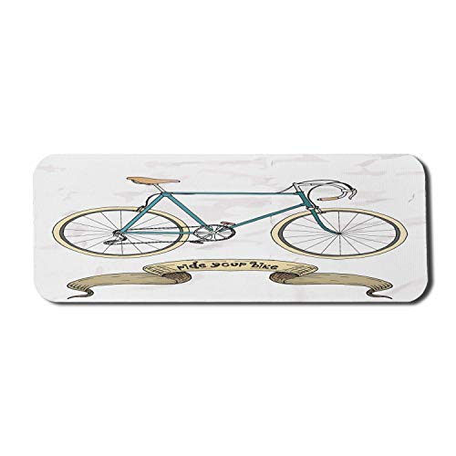 Retro Computer Mouse Pad, fahren Sie Ihr Fahrrad Thema Hipster handgezeichnet Fahrrad und Band Druck, Rechteck rutschfeste Gummi Mousepad große Benzin blau Sandbraun