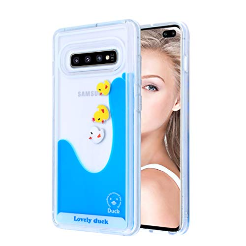 Fusicase for Galaxy S10 Plus Liquid Case Cute Cartoon Lovely Duck Flowing Floating Moving Water Clear Protective Cover with Transparent Hard PC Slim Thin Funny Case for Samsung Galaxy S10 Plus