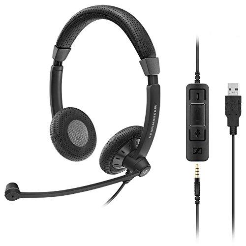 Sennheiser SC 75 USB MS Beidseitiges UC-Headset mit USB-Anschluss inkl. In-Line Call Control und 3, 5