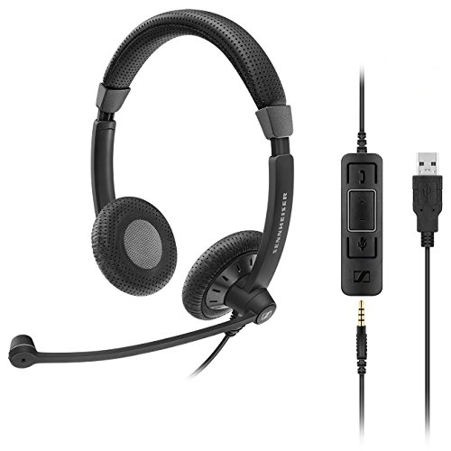 Sennheiser SC 75 USB MS Casque Audio Binaural Bandeau Noir - Casques Audio (Centre d'appel/Bureau, Binaural, Bandeau, Noir, avec Fil, 1, 12 m)