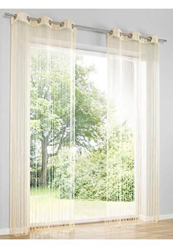 heine home Fadenstore Vorhang Raumteiler Insektenschutz Sand Ösen H/B 245x145 cm