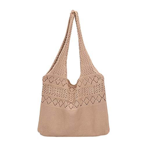 VALICLUD Handwoven Crochet Handbag Knitted Straw Tote Bag Travel Beach Fishing Net Handbag Shopping Bolso de Hombro Tejido para Mujeres Khaki