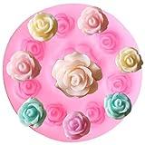 FGHHT Moldes de Silicona de Flor Rosa DIY Boda Cupcake Topper Fondant Herramientas de decoración de Pasteles Chocolate Dulces moldes de Arcilla polimérica