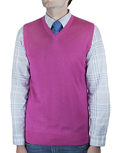 Blue Ocean Solid Color Sweater Vest-Large Hot Pink
