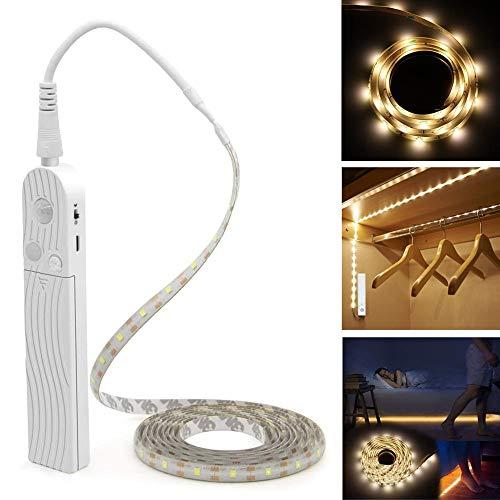 LED テープライト LHY 人感センサーライト 電池式 ベッドライト 手動操作 革新的な設計 長さ1m 防水可能 乾電池式 自動点灯 消灯 省エネ 柔らかい 自由で形を設計 切断可能 正面発光 - 電球色