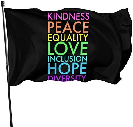 AIJEESI Kindness Peace Equality Love Inclusion Hope Diversity Garden Flag 3x5ft Vivid Color product image