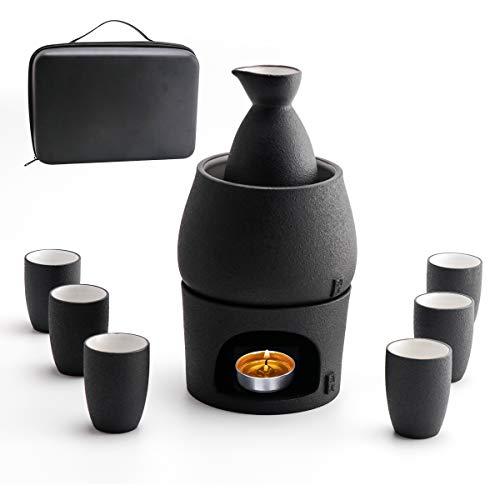 Sake Set Tassen mit Wärmer - Aufbewahrungsbox für Sake, traditionelles Porzellan, japanisches Keramik-Heißgetränk, 9 Stück inklusive Herd, Wärmeschale, Sake-Flasche für 6 Tassen