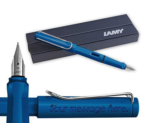 Lamy–Pluma estilográfica con plumín medio, de Safari, color: azul, PERSONALIZABLE