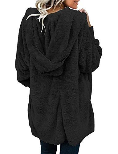 Zilcremo Cappotti Giacca Donna Pelliccia Giacca in Sherpa Calda Felpa con Cappuccio di Capispalla Cardigan Invernale Casuale Nero S