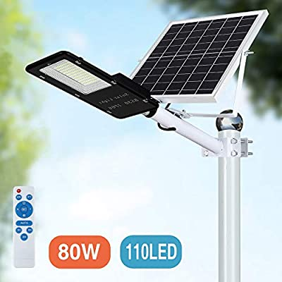 80W LED Solar Street Lights, Outdoor Dusk to Dawn Pole Light with Remote Control, Waterproof, Ideal for Parking Lot, Stadium, Yard, Garage and Garden (Cool White)