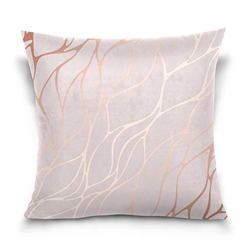 HMZXZ Funda de almohada decorativa de 45,7 x 45,7 cm, color oro rosa con textura de mármol, funda de cojín para sofá, dormitorio, sala de estar