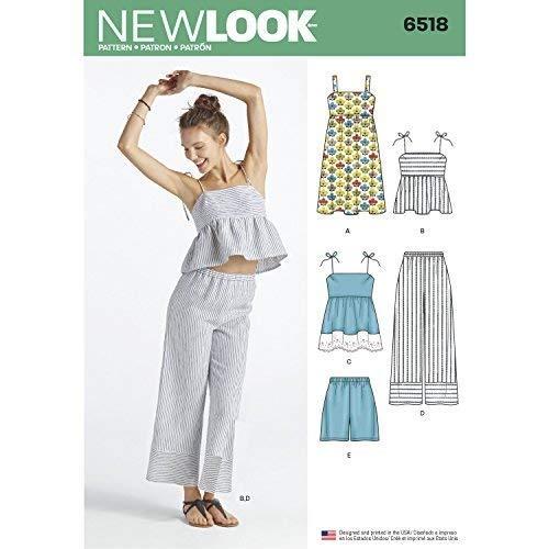 Simplicity New Look Schnittmuster Damen Kleid/Tops in Zwei Längen/Pants/Shorts Schnittmuster, weiß