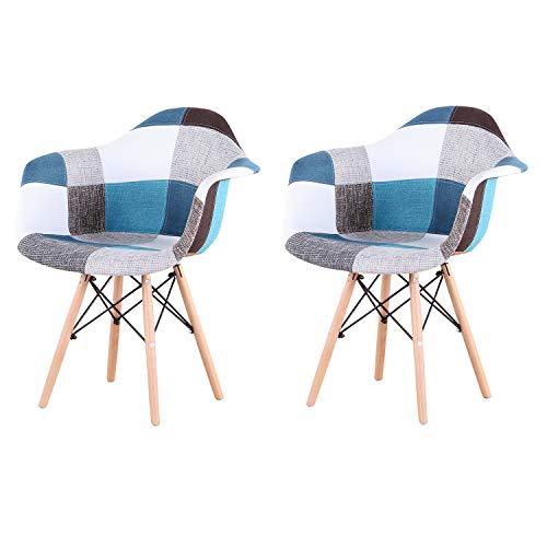 EGOONM 2er Set Patchwork Esszimmerstuhl,Leinenstoff Freizeit Wohnzimmer Eckstühle Empfangsstühle, Küchenstuhl Holz (Blau)