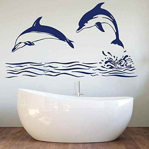 YuanMinglu Big Dolphin Ocean Fish Wandaufkleber Bad Delphin Fisch Welle Baby Kindergarten Wandtattoo Kinder Schlafzimmer Vinyl Dekoration 84x48 cm