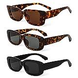 PHOGARY Gafas de Sol Rectangulares Vintage, Moda Vintage Marco Cuadrado Gafas Protección UV400 Gafas de Conducción Retro para Mujeres Hombres (3 Piezas)